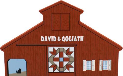 David & Goliath Quilt Barn, Cat's Meow Village Shelf Sitter