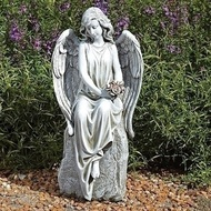 Garden Statue Angel holding flowers #66331