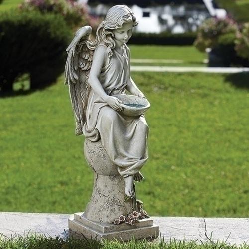 Solar Garden Sitting Angel on Pedestal #66339