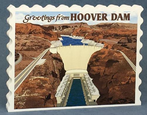 Cat's Meow Village Keepsake Hoover Dam Postcard Style
