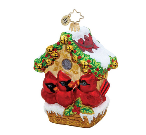 Christopher Radko Jingle Bell Cardinal Bird Hideway Glass