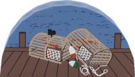 Cat's Meow Village Shelf Sitter Wooden - Lobster Pots RA797