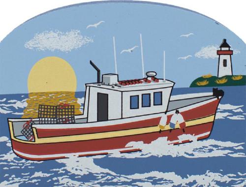 Cat's Meow Village Shelf Sitter - New England Lobster Boat RA798
