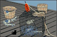 Cat's Meow Village Crab Pot & Baskets