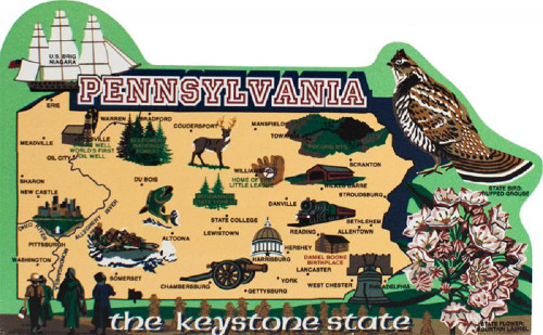 United States Map, Pennsylvania The Keystone State