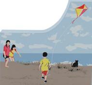Cat's Meow Village Shelf Sitter - Children Flying Kite 12-645