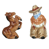 SADEK Cowboy and Horse Salt Pepper Pair