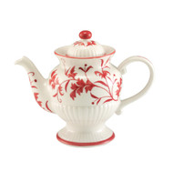 Sadek Ceramic Ribbed Red Leaf Teapot
