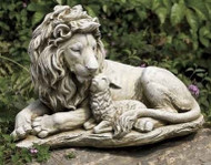Roman, Joseph's Studio Lion and Lamb Garden Statue