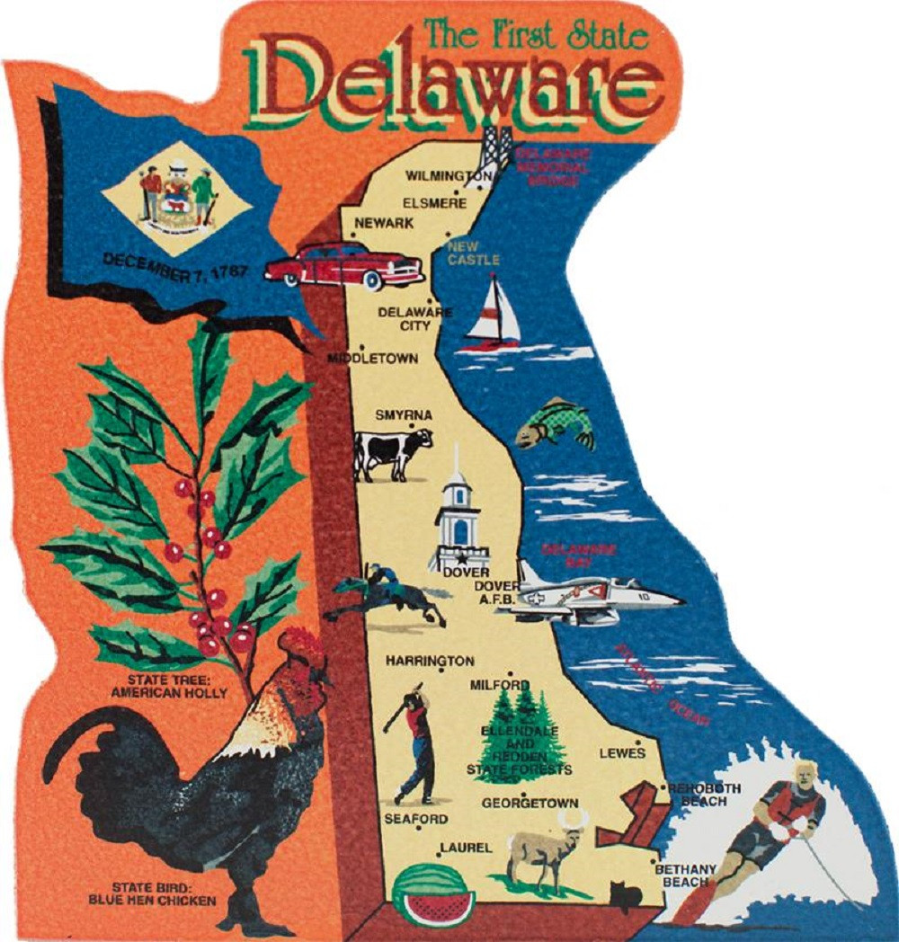 Delaware State Map Wooden Keepsake Cat\'s Meow Village|USA Points of ...