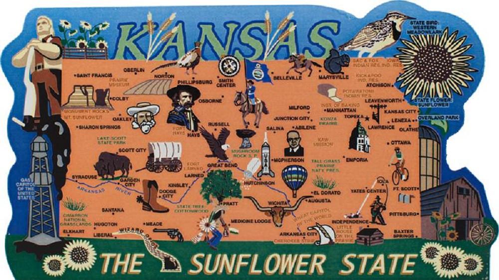 Kansas State Map Wooden Keepsake Cat\'s Meow Village|USA Points of ...