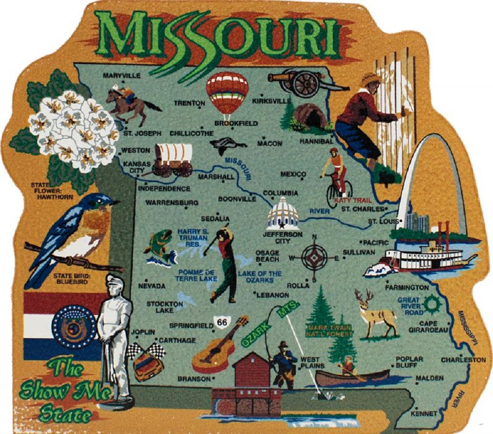 Missouri State Map Wooden Keepsake Cat\'s Meow Village|USA Points of ...