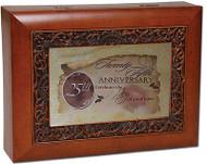 25 Anniversary Cottage Garden Ornate Woodgrain Music Jewelry Box Wonderful World