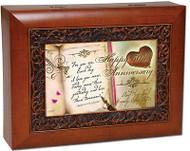 50 Anniversary Cottage Garden Ornate Woodgrain Music Jewelry Box Wonderful World