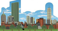 Cat's Meow Village Boston Massachusetts Skyline Day Scene #RA592
