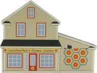 Cat's Meow Village Shelf Sitter - Grandmother's Flower Garden Quilt Block Barn 14-511