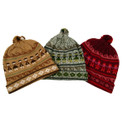 Alpaca Knit Peruvian Design Circle of Friends Beanie Pom Pom