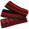 Striped/Geometric Alpaca 100% Headband One Size Hand Knit Peru (7)