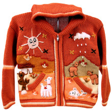 Children's Full Zip Applique Sweater with Hood Sizes Available (13)