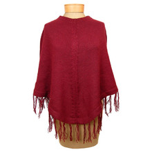 Alpaca 100% Knit Poncho, solid Adult One Size Assorted Colors