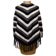 Alpaca 50% Acrylic 50% Striped Knit Poncho One Size Many Colors