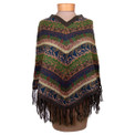 Striped/Geometric Poncho Assorted Colors 100% Alpaca
