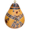 Ornament Snowman Hand Carved Gourd Natural 3""