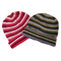 Alpaca 100% Reversed Stripe Beanie Hat