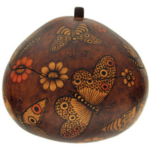 Gourd Box Butterflies and Flowers Burned