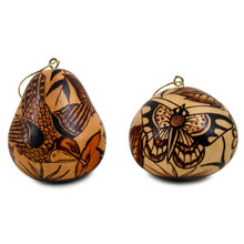 Gourd Fine Burned Carved Nature Ornaments 3""