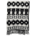 "Brushed Alpaca Geometric Blanket 60"" x 84"" - Black/Gray Fringed"