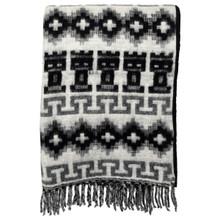 "Brushed Alpaca Geometric Blanket 60"" x 84"" - Black/Gray Fringed"