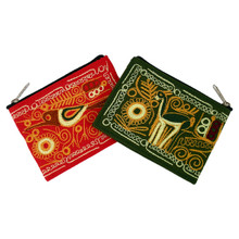Embroidered Coin Purse Zippered Cotton