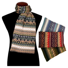 Barcelona Knit Scarf 100% Alpaca Geometric Pattern from Peru