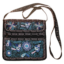 """Embroidered Cotton Zippered Square Purse 10"""" x 10"""""""