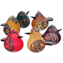 Gourd Bird Ornament with Wide Tail and Beak