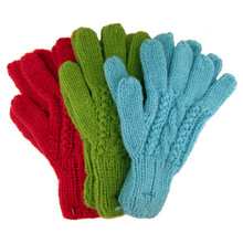 Alpaca Hand Knit Cable Gloves Assorted Solid Colors Adult (6)