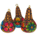 "Floral Gourd Primavera Ornament 3"" Bright Colors Hand Dyed Carved"