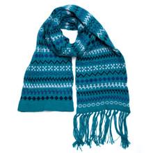 "Alpaca 100% Scarf Turquoise Blue Shades 8"" x 74"" Geo Knits"