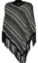 Alpaca 100% Knit Poncho V Collar Assorted Llama Striped One Size