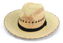 Showdown Palm Straw Hat with Eyelets and Solid Band