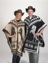 Unisex Horse Brushed Poncho Assorted Reversible Colors