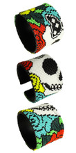 """Double Magnetic Clasp Glass Fine Bead Katrina Day of the Dead 2"""" Bracelet Icon BR601-2"""