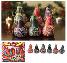 "Assortment of Multicolored Floral Design Ornament Drop Shape 3"""