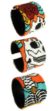 Adjustable Cuff Beaded Day of the Dead Katrina White and Silver Beads Bracelet BR600-2