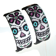 Adjustable Cuff Beaded Dia de los Muertos White and Silver Beads Bracelet BR606