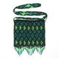 "Artisan Fair Trade Premium Geometric 8.5"" x 8.5"" Green Glass Beaded Purse BG154"