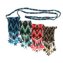 "Fancy Medicine Bag Jewel Tones Geometric Beaded Coin Purse 3"" x 3.5"" BG102-003"