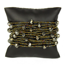 Bronze Bracelet Twelve Strand Crystals and Beads Magnetic Clasp