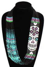 "Black and Pink Dia de los Muertos Necklace Glass Beads Fine Strands 22"" NE602"